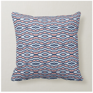 Royal Moroccan Rose cushion, pink white and blue, by Kate Whyley Designs
