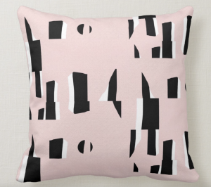 Boom cushion, pink, white and black by Kate Whyley Designs