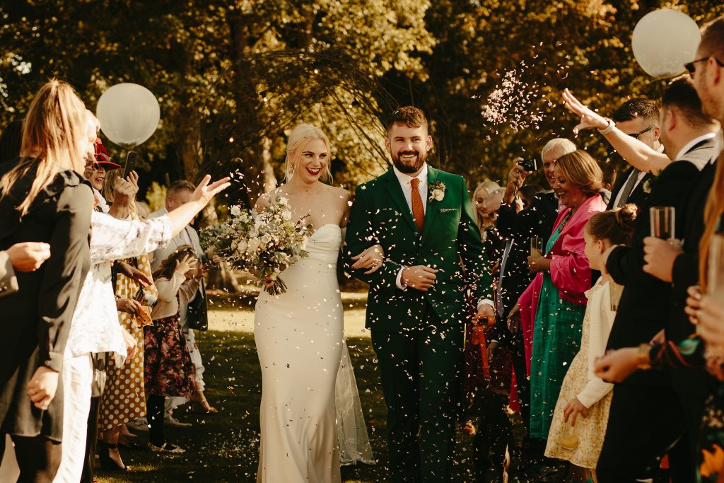 outdoor wedding ceremony at Avington barn