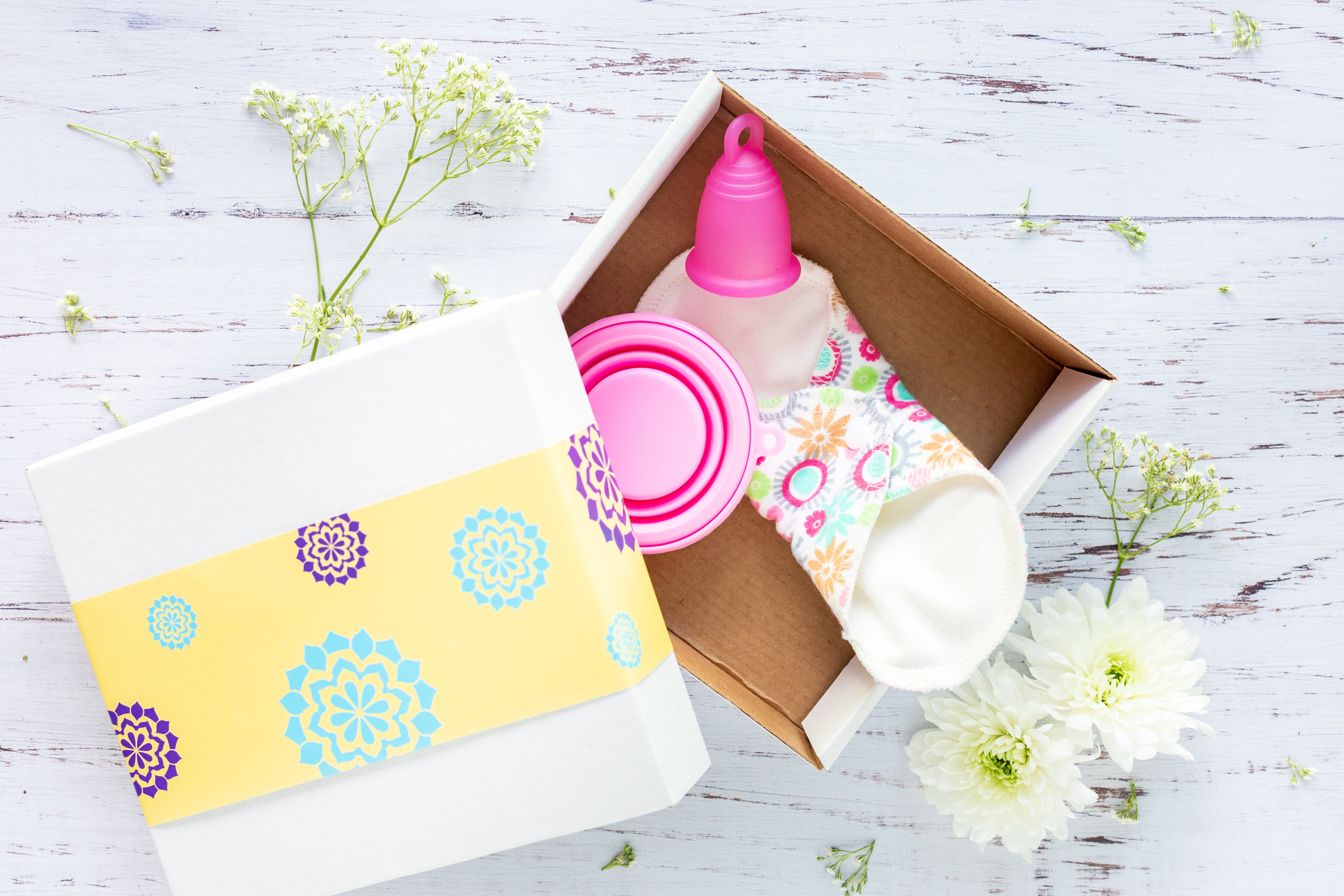 menstrual cup in a box