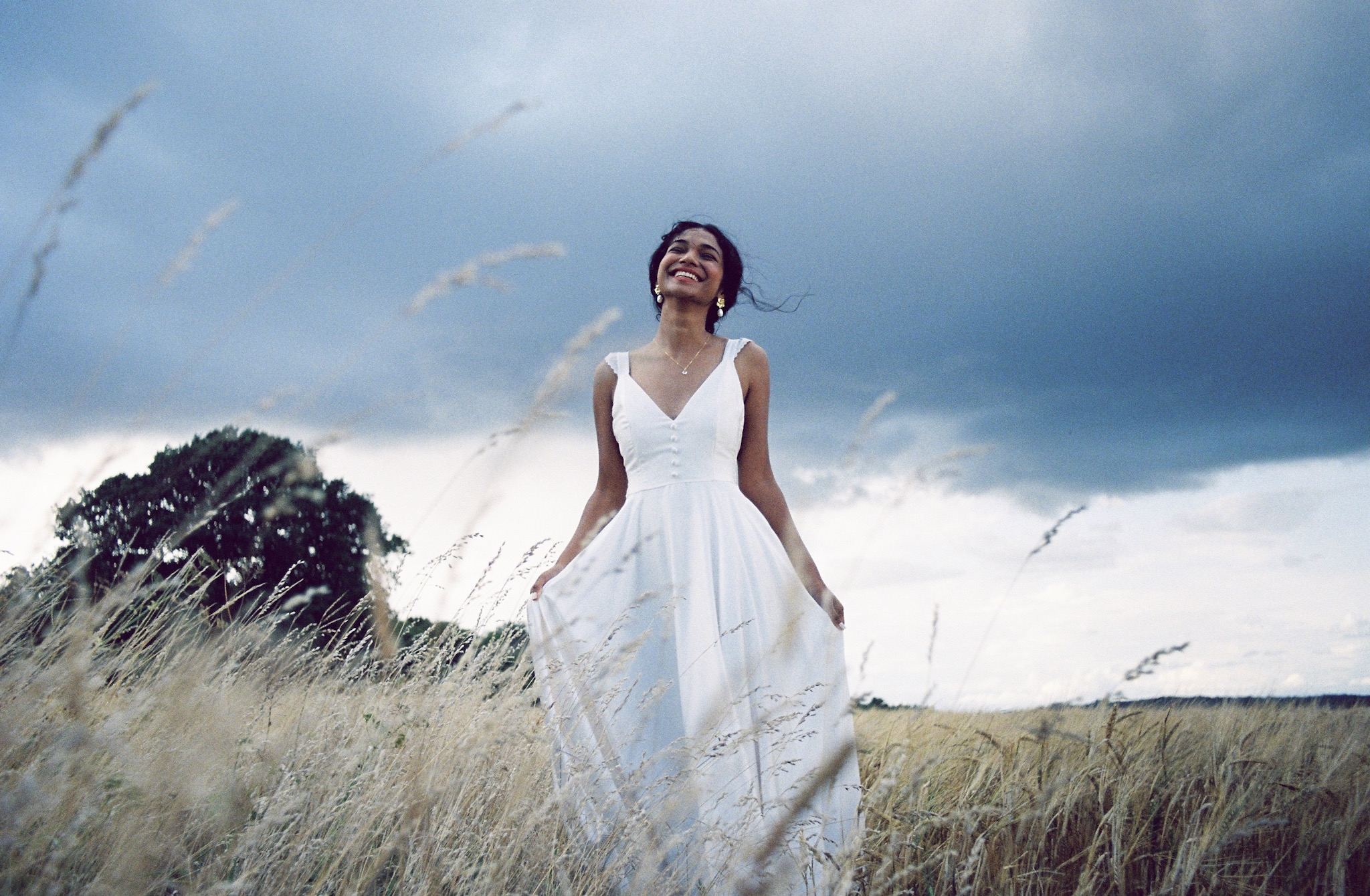 Sophie Rose Bridal Dress in the hay fields
