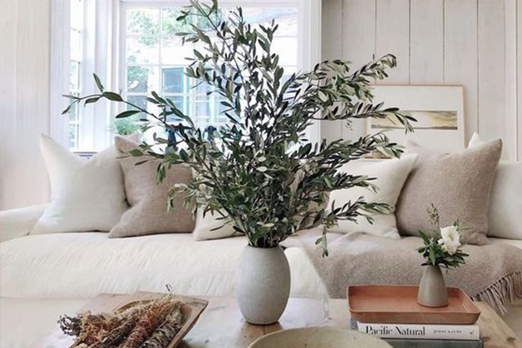 Branches in a vase in living room by Jenni Kayne